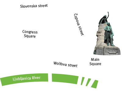 Location map of free comedy tour Ljubljana